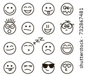 emotional hand drawn faces set | Shutterstock .eps vector #732867481