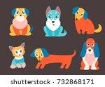 vector set of puppies. cute...   Shutterstock .eps vector #732868171