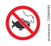 forbidden sign with fish glyph... | Shutterstock .eps vector #732869581