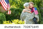 happy reunion of soldier with... | Shutterstock . vector #732871645