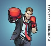 boxing businessman illustration | Shutterstock . vector #732871681