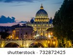 the bridge over the tiber river ... | Shutterstock . vector #732872425