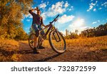 young athletic guy in a black t ... | Shutterstock . vector #732872599