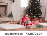 adorable little boy laying on... | Shutterstock . vector #732872629