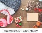creative flat lay of christmas... | Shutterstock . vector #732878089