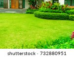 landscape formal  front yard is ... | Shutterstock . vector #732880951