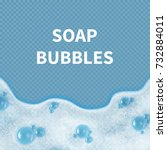 realistic soap bubbles or... | Shutterstock .eps vector #732884011