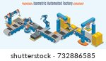 isometric automated production... | Shutterstock .eps vector #732886585