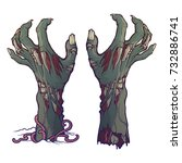 pair of zombie hands rising... | Shutterstock .eps vector #732886741