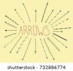 set of arrow doodle on creme... | Shutterstock .eps vector #732886774