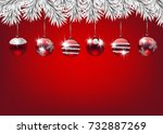 fir branches decorated with... | Shutterstock .eps vector #732887269