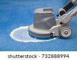 blue carpet chemical foaming ...   Shutterstock . vector #732888994