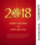 2018 happy new year background... | Shutterstock .eps vector #732889879