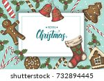festive christmas background... | Shutterstock .eps vector #732894445