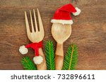 kitchen wooden spoon in red... | Shutterstock . vector #732896611