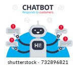 chatbot responds to customers... | Shutterstock .eps vector #732896821