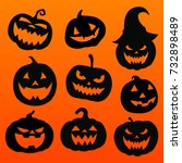 halloween pumpkins | Shutterstock .eps vector #732898489
