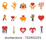 orange color charity icons set | Shutterstock .eps vector #732902251