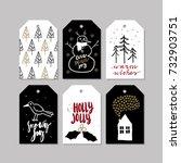 set of doodle christmas... | Shutterstock .eps vector #732903751