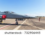 Small photo of part of head fighter jet military aircrafts parked on runway in the base airforce on blue sky background