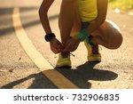 young fitness woman runner... | Shutterstock . vector #732906835