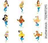 cartoon characters of gin...   Shutterstock .eps vector #732907291