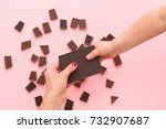 top view on child's hand taking ... | Shutterstock . vector #732907687