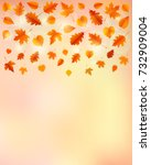 autumn background with leaves....   Shutterstock .eps vector #732909004