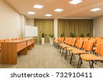 huge hall interior with carpet... | Shutterstock . vector #732910411