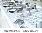 empty catering plates  platters ...   Shutterstock . vector #732913264