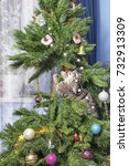 cat on christmas tree. naughty... | Shutterstock . vector #732913309