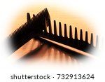 creative set of black hair comb ... | Shutterstock . vector #732913624