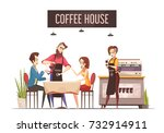 coffee house design concept... | Shutterstock .eps vector #732914911