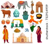 various symbols sights and... | Shutterstock .eps vector #732914959
