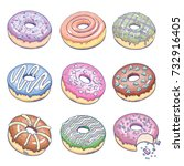 donuts set. confectionery... | Shutterstock .eps vector #732916405