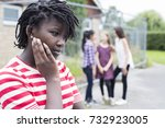 sad teenage girl feeling left... | Shutterstock . vector #732923005