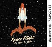 rocket launch ship.vector... | Shutterstock .eps vector #732927655