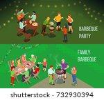 family picnic horizontal... | Shutterstock .eps vector #732930394
