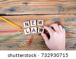 new law. wooden letters on the... | Shutterstock . vector #732930715