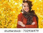 very beautiful young woman on... | Shutterstock . vector #732936979