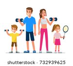 happy family making exercise... | Shutterstock . vector #732939625
