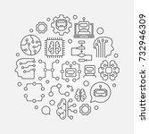 machine learning circular... | Shutterstock .eps vector #732946309