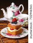 small square cake with cream...   Shutterstock . vector #732946561