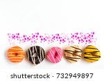 mixed color donut on white... | Shutterstock . vector #732949897