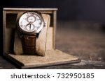 brown  leather watch  vintage...