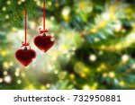 Two Hanging Heart Shapes On...