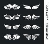 set of different vector wings... | Shutterstock .eps vector #732951844