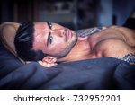 shirtless sexy muscular male... | Shutterstock . vector #732952201
