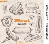 vector set of isolated meat... | Shutterstock .eps vector #732954025