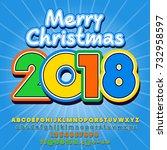 vector merry christmas greeting ... | Shutterstock .eps vector #732958597